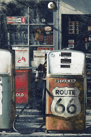 Route 66 - Gas Station Póster