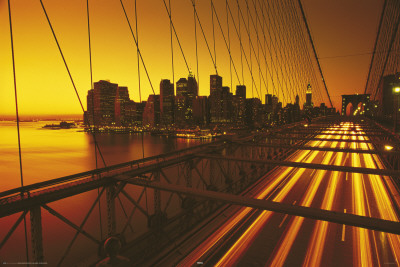 New York - Brooklyn Bridge Yellow Poster