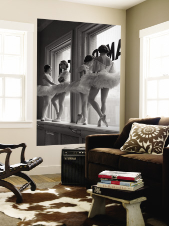 Ballerinas on Window Sill in Rehearsal Room at George Balanchine's School of American Ballet Wall Mural by Alfred Eisenstaedt