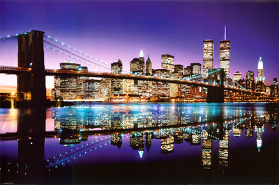 Brooklyn Bridge New York City skyline night photo print