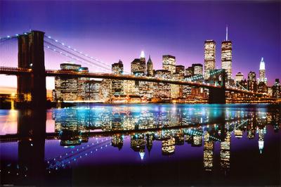 Brooklyn Bridge New York City skyline night photo print