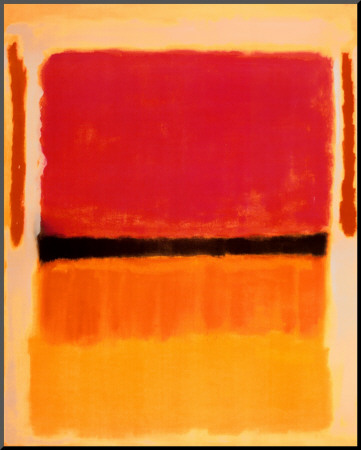 Untitled (Violet, Black, Orange, Yellow on White and Red), 1949 Stampa montata di Mark Rothko