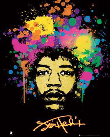Jimi Hendrix - Splatters Mini Poster