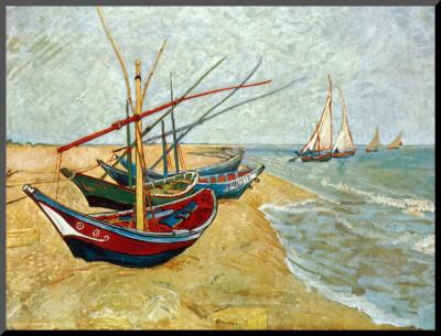 Vissersboten op het strand bij Saints-Maries, ca. 1888 Kunst op hout van Vincent van Gogh