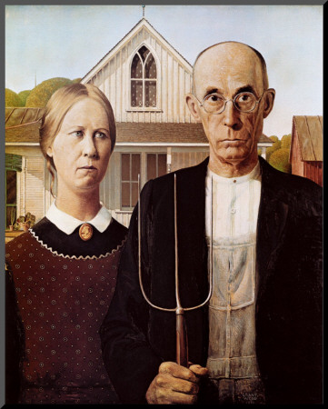 American Gothic, 1930 Mounted Print by Grant Wood