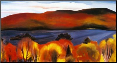 Lake George, Autumn, 1927 Kunst op hout van Georgia O'Keeffe
