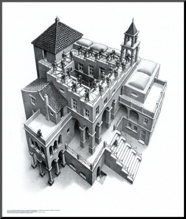 Ascending and Descending Mounted Print by M. C. Escher