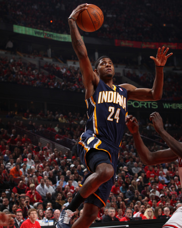 Indiana Pacers v Chicago Bulls - Game Two, Chicago, IL- April 18: Paul George Photo