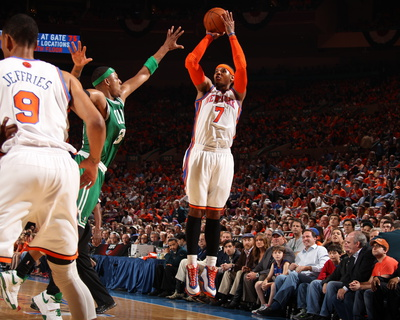 Boston Celtics v New York Knicks - Game Four, New York, NY - April 24: Carmelo Anthony and Paul Pie Photo
