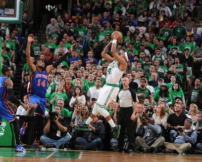 New York Knicks v Boston Celtics - Game One, Boston, MA - April 17: Paul Pierce and Ronny Turiaf Photo