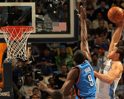 Oklahoma City Thunder v Denver Nuggets - Game Four, Denver, CO - April 25: Danilo Gallinari and Ser Photo