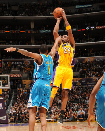 LA Lakers vs New Orleans Hornet - Kobe Bryant Shooting into basket, Game 5 2011 NBA Playoffs April 26 - sports basketball photo poster