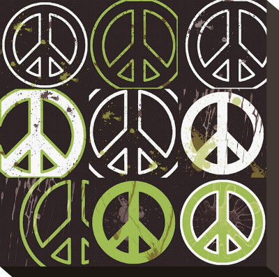 Peace Mantra (green) Stretched Canvas Print