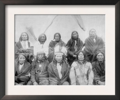 Lakota Indian Chiefs who Met General Miles to End Indian War Photograph - Pine Ridge, SD Poster