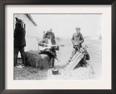 Men Playing Kazoos and Guitar Photograph Art