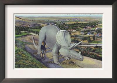 Rapid City, South Dakota, Dinosaur Park View of Triceratops Statue Prints