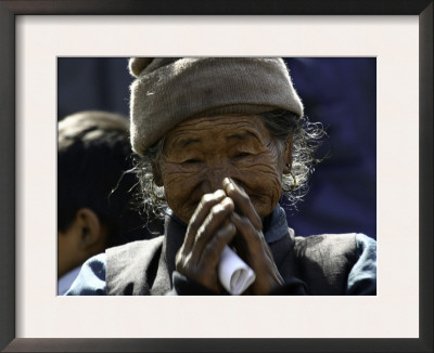 Old Woman with Hands to Face, Nepal Prints by David D'angelo