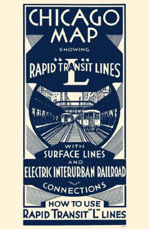 Chicago Map Rapid Transit Lines Masterprint