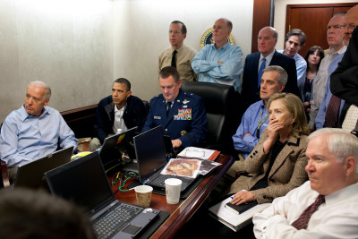 President Obama before statement to the media of the mission against Osama bin Laden, May 1, 2011 Photo