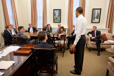 President Obama in Chief of Staff Bill Daley's office: White House, April 8, 2011 Photographic Print