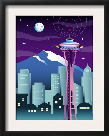 A View of the Skyline in Seattle, WA Posters