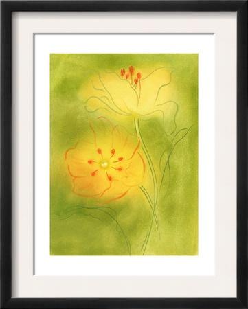 Stylized Yellow Flowers Prints
