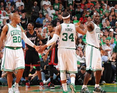 Miami Heat v Boston Celtics - Game Four, Boston, MA - MAY 9: Ray Allen, Paul Pierce and Kevin Garne Photo by Brian Babineau