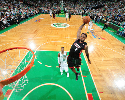 Miami Heat v Boston Celtics - Game Four, Boston, MA - MAY 9: LeBron James and Rajon Rondo Photographic Print