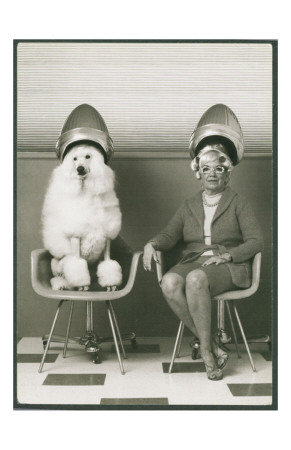Coneheads Lady and Poodle in Dryers, France Art Print