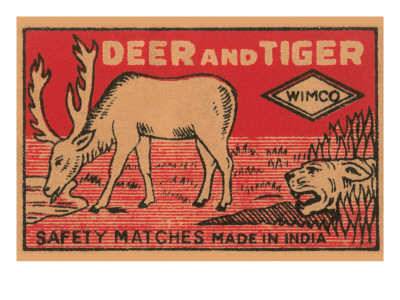 Deer And Tiger Safety Matches Posters