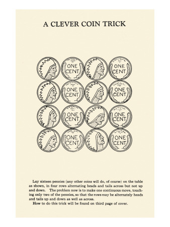 Clever Coin Trick - 16 Pennies Print