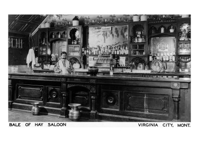 Virginia City, Montana - Interior View of Bale of Hay Saloon Art Print