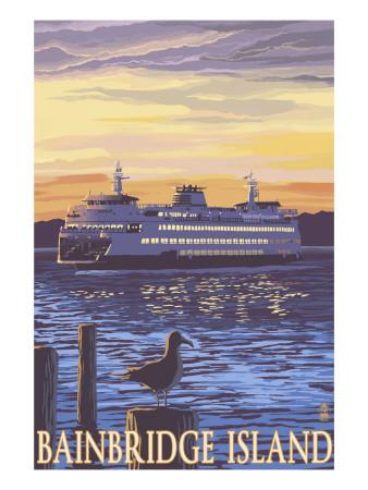 Bainbridge Island, WA - Ferry and Sunset Prints by  Lantern Press