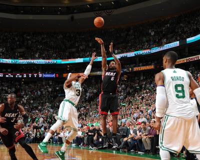 Miami Heat v Boston Celtics - Game Four, Boston, MA - MAY 9: LeBron James and Paul Pierce Photo by Brian Babineau