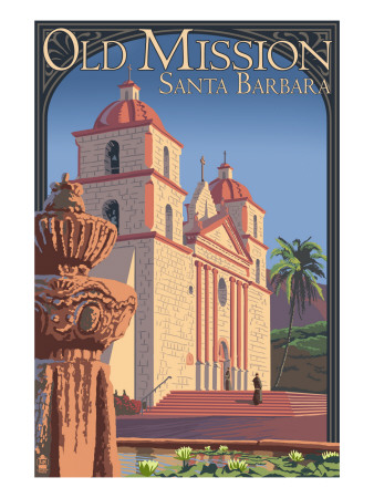 Old Mission - Santa Barbara, California Reproduction d'art