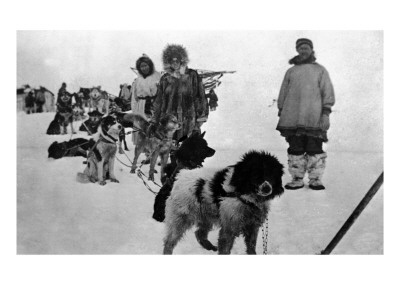Alaska - Dog Sled Team and Men in Parkas Posters by  Lantern Press