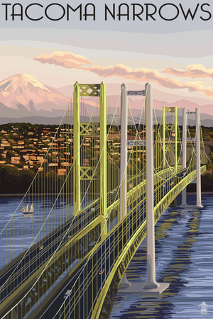 Tacoma, Washington - Narrows Bridge and Rainier Prints by  Lantern Press
