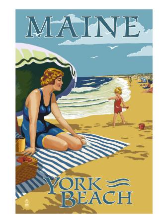 York Beach, Maine - Beach Scene Kunstdrucke von  Lantern Press