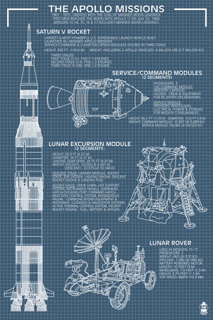Apollo Missions - Blueprint Poster Art Print