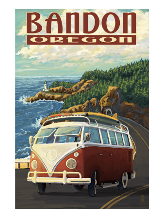 Bandon, Oregon - VW Van Coast Scene Reproduction d'art