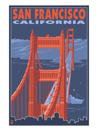 San Francisco, California - Golden Gate Bridge Posters by  Lantern Press