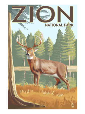 Zion National Park, UT - Deer Art Print
