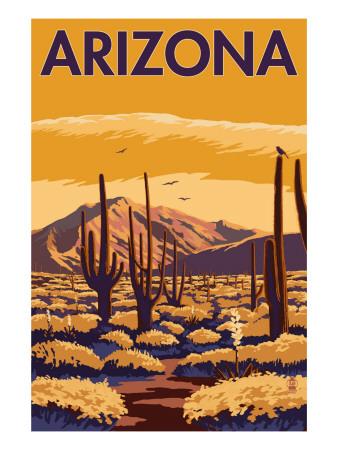 Arizona Desert Scene with Cactus Prints by  Lantern Press
