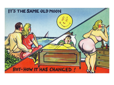 Comic Cartoon - Cute Couple; Same Old Moon, How it Has Changed Konsttryck