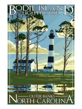 Bodie Island Lighthouse - Outer Banks, North Carolina Posters by  Lantern Press