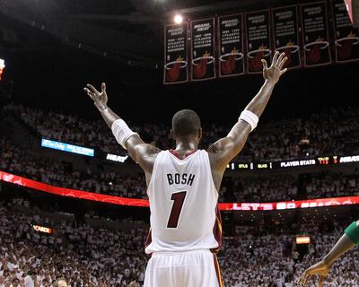 Boston Celtics v Miami Heat - Game Five, Miami, FL - MAY 11: Chris Bosh Photo by Mike Ehrmann