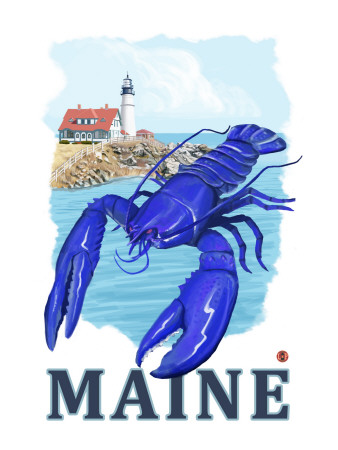 Blue Lobster & Portland Lighthouse - Maine Reproduction d'art