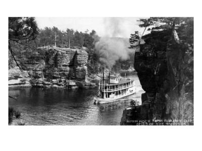 Wisconsin Dells, Wisconsin - High Rock from Romance Cliff, Steamer Posters by  Lantern Press