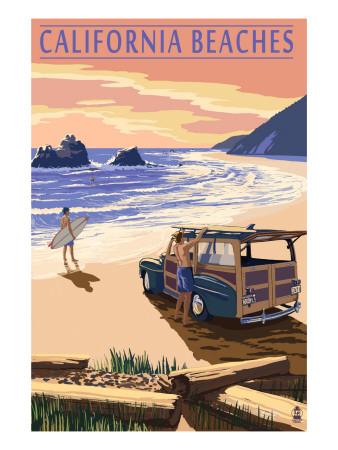 California Beaches - Woody on Beach Prints by  Lantern Press