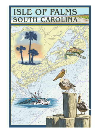 Isle of Palms, South Carolina - Nautical Chart Art Print